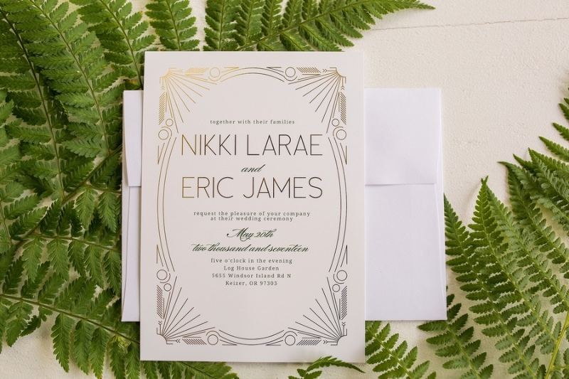 Fancy foil invitations for your art deco themed wedding! Customize yours today and choose from gold, silver, and rose gold foil.