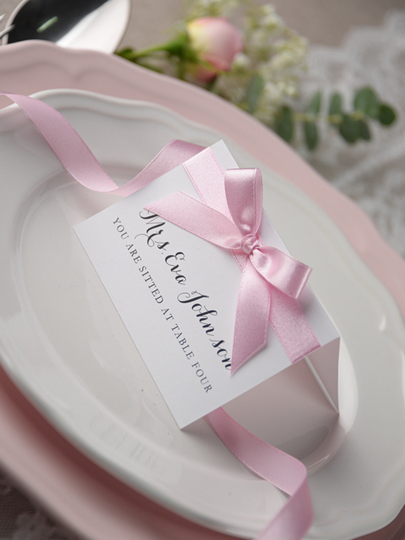 Simple wedding place card with ribbon