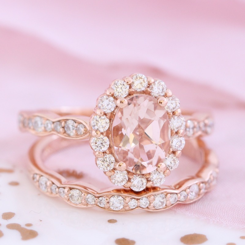 Oval Morganite Ring Bridal Set in Rose Gold Halo Diamond Scalloped Band by La More Design in NYC