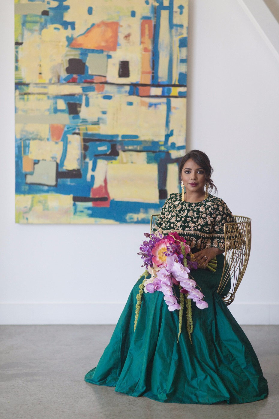 Custom emerald gown by Ruchita Dagli