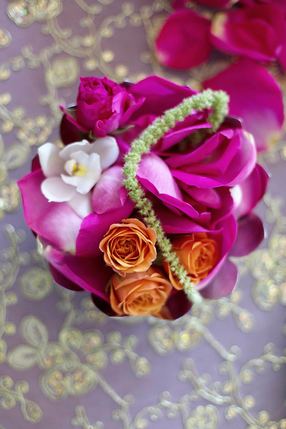 Colorful sweetheart table decor
