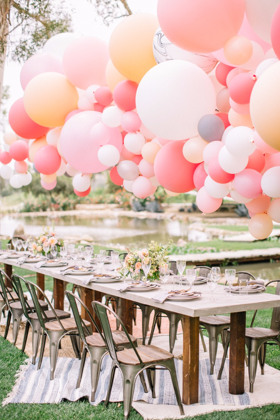 Modern chic table with giant balloon installation