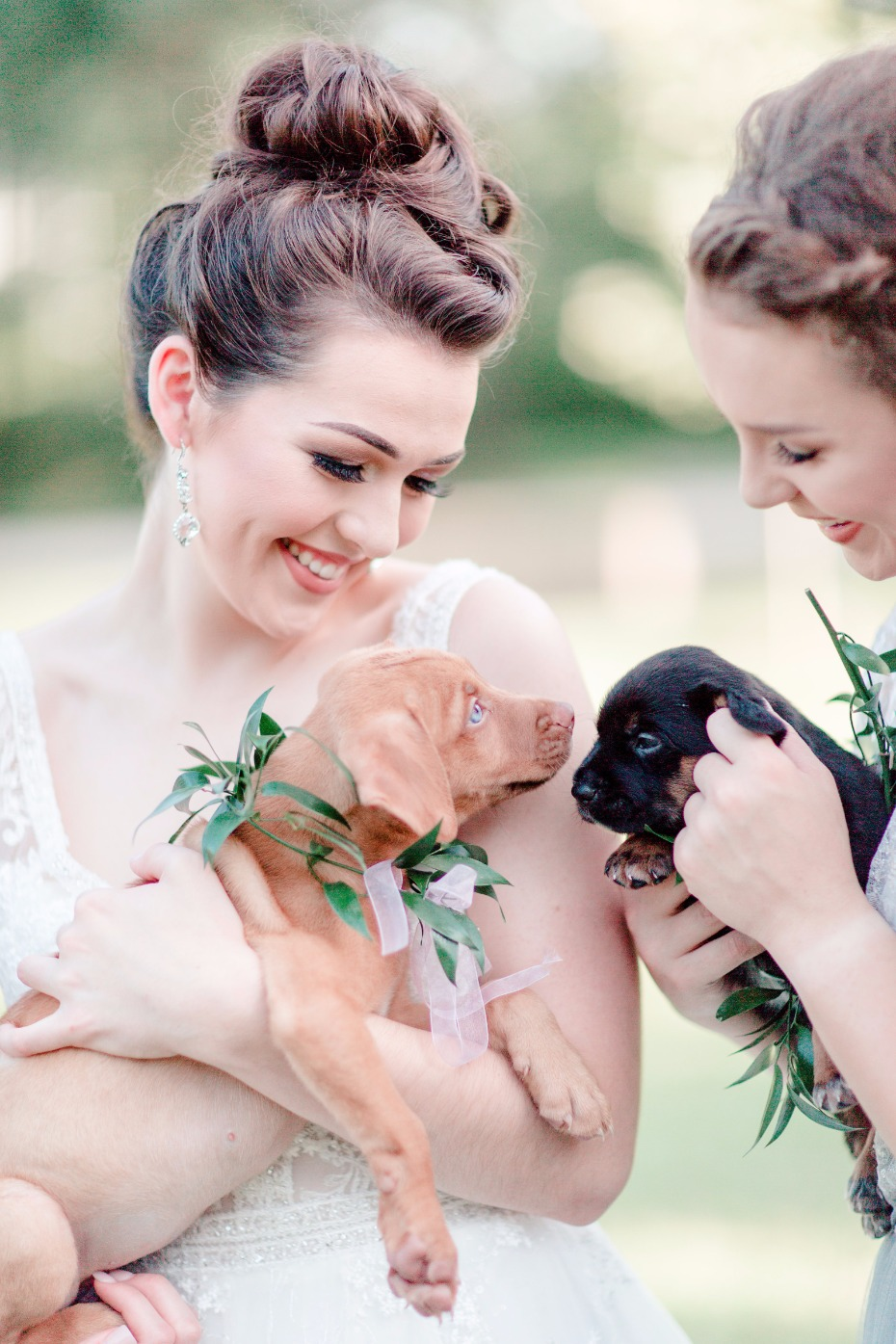 bride and her puppy