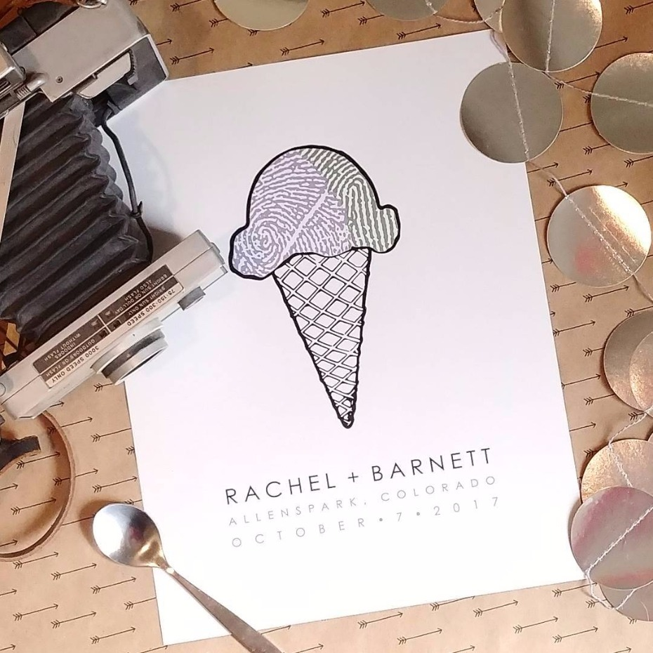 Ice Cream Finger print custom guest book