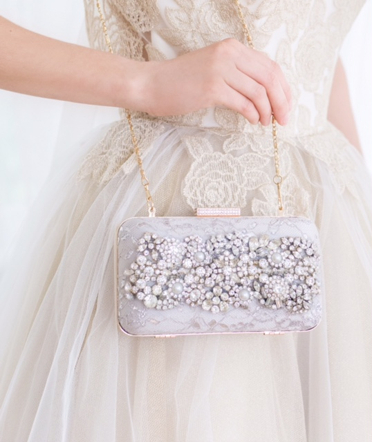 Romantic & Dreamy bridal clutches designed from vintage jewels.