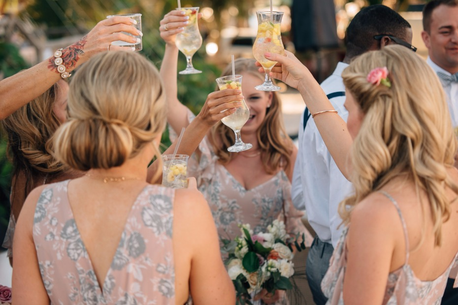 cheers to the newlyweds with white sangria