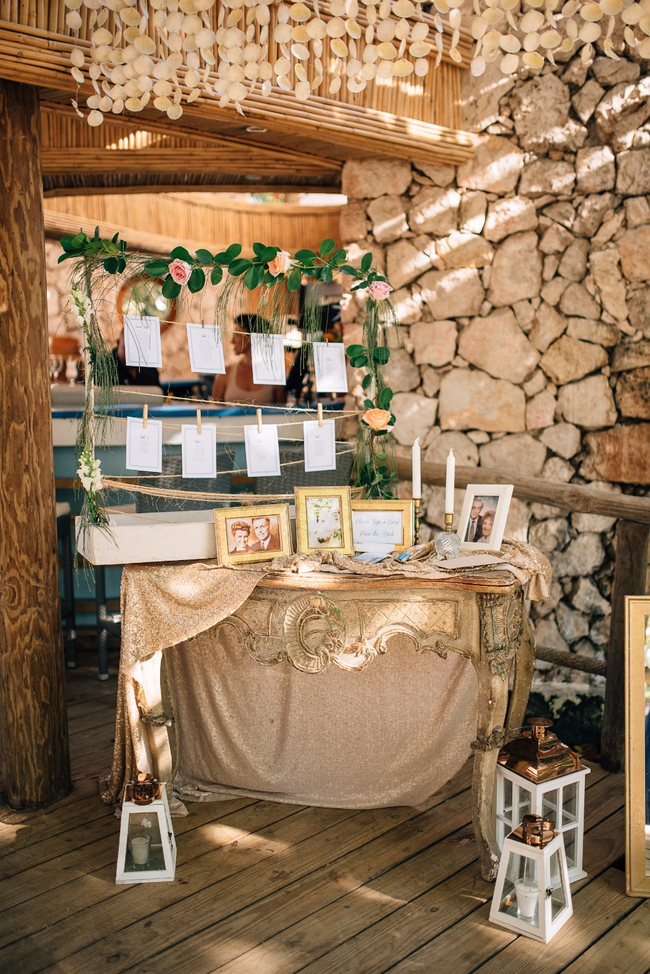 chic and vintage beach wedding welcome table