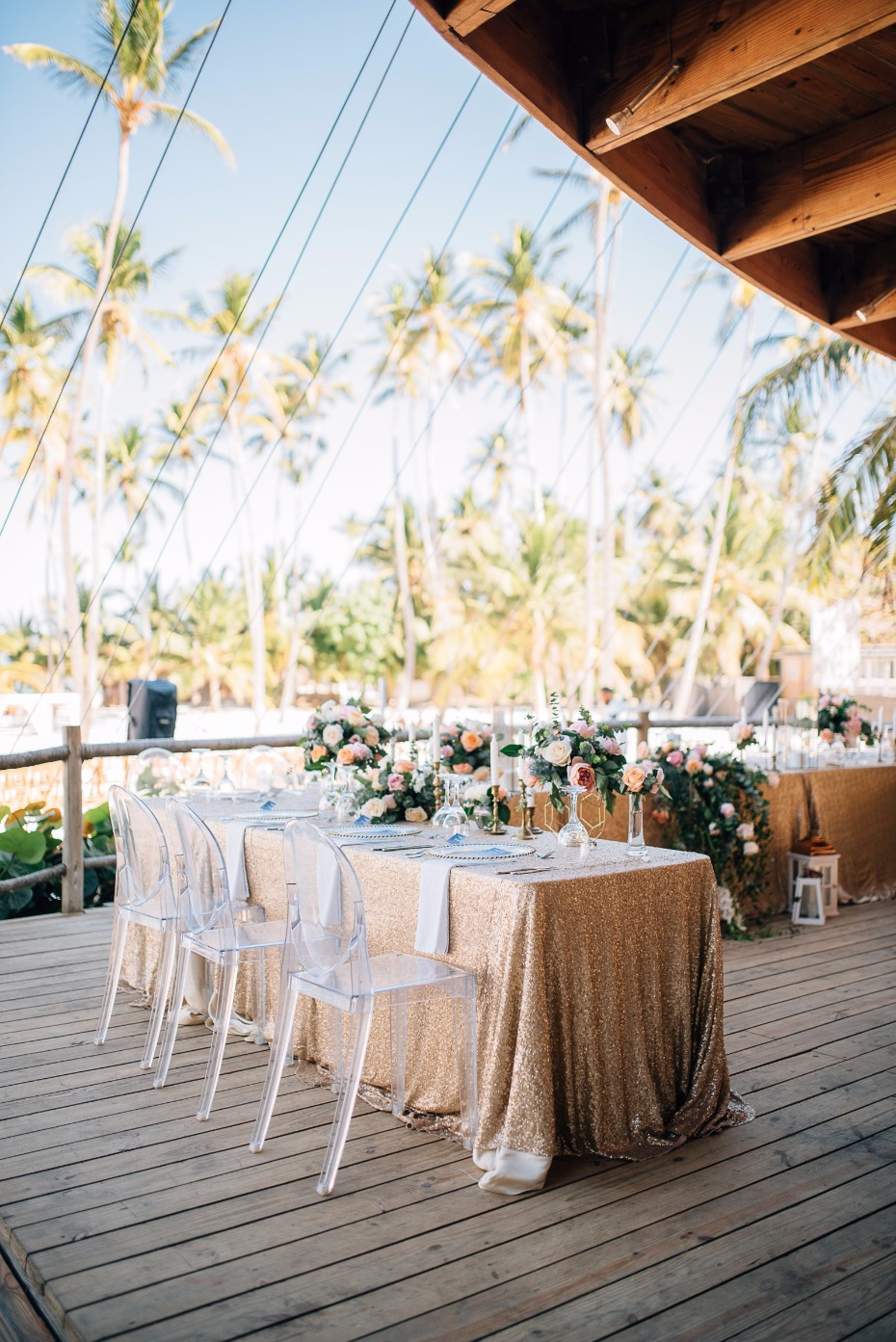 outdoor wedding reception at The Jellyfish Beach Restaurant
