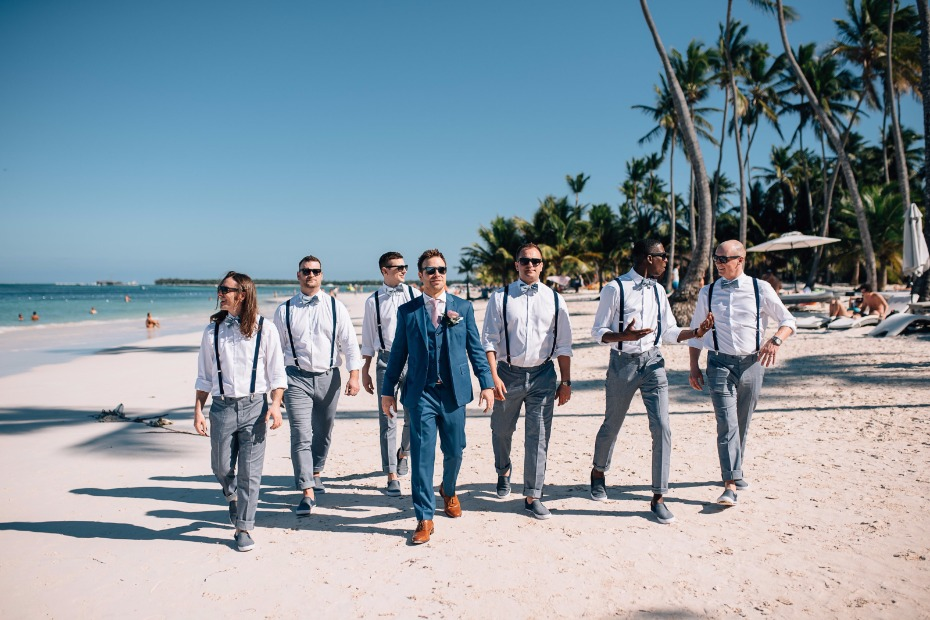 groom and his men dressed up and ready for this beach wedding