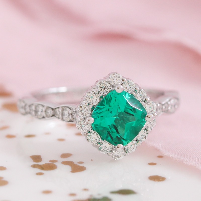 Cushion Emerald Halo Engagement Ring in White Gold Diamond Scalloped Band by La More Design in NYC