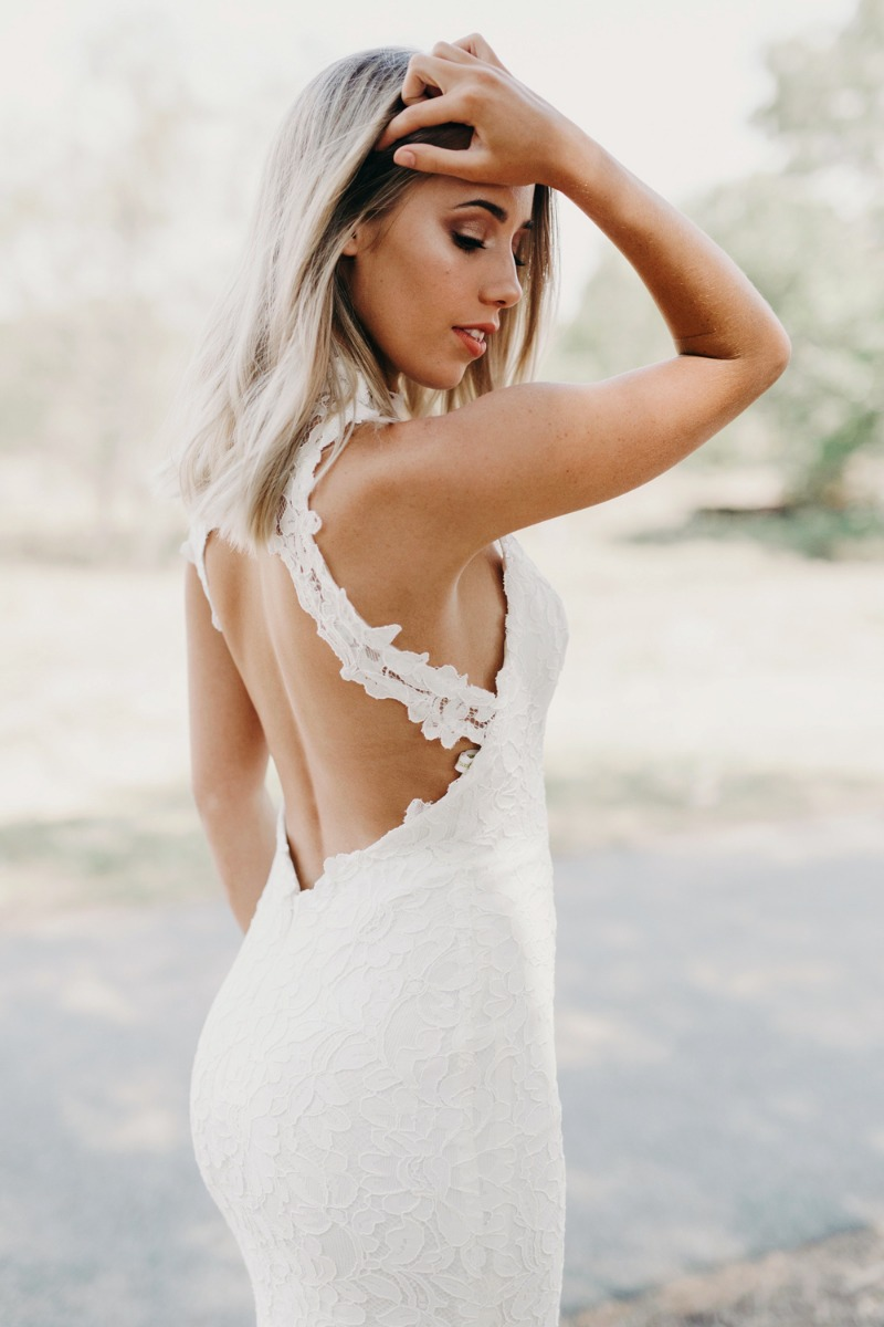 Ou la la, that wide keyhole back on Gabriella! Our Gabriella gown from our Goddess By Nature Timeless Classic Collection is available