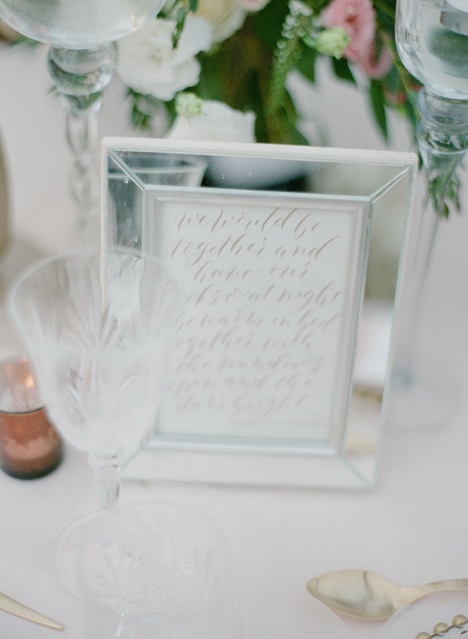 framed quote for your wedding tables
