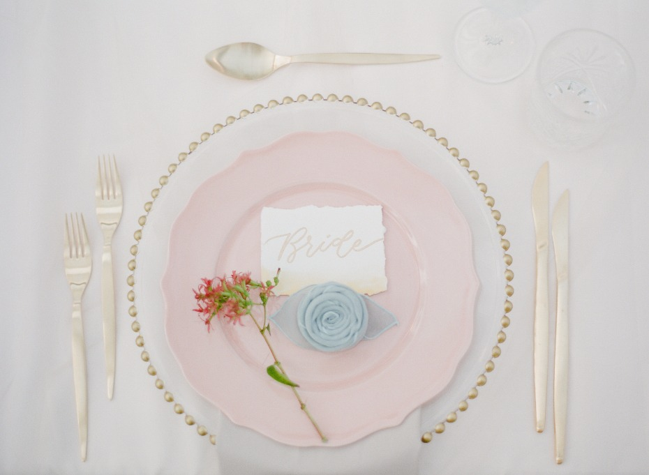 gold and pink wedding place setting for your modern classic chic wedding