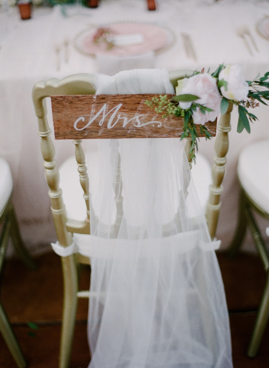 rustic chic seat sign for the bride