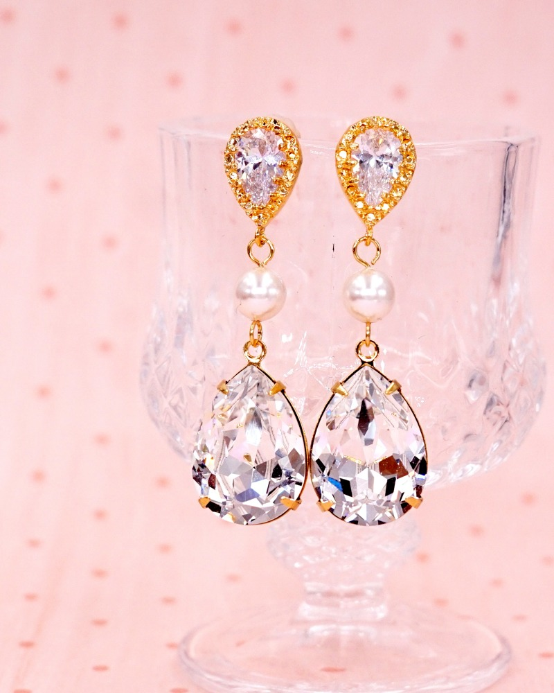 Gold Teardrop Earrings with pearl, Swarovski crystal, wedding jewelry, bridal shower gifts, brides, bridesmaids, gifts for her, www