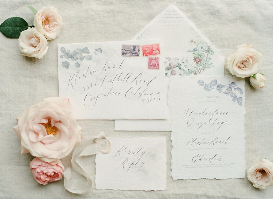 watercolor paper wedding stationery