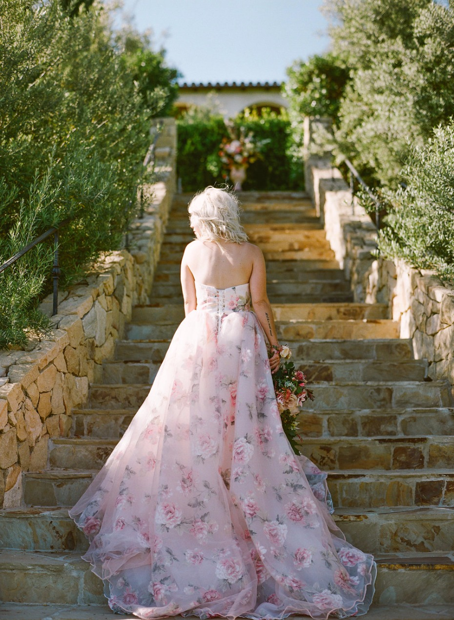 blush floral printed wedding dress of our dreams by Weekend Wedding Dress