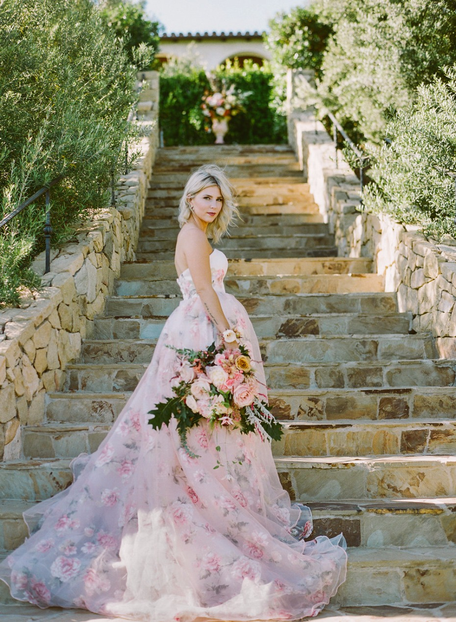 floral printed wedding gown by Weekend Wedding Dress