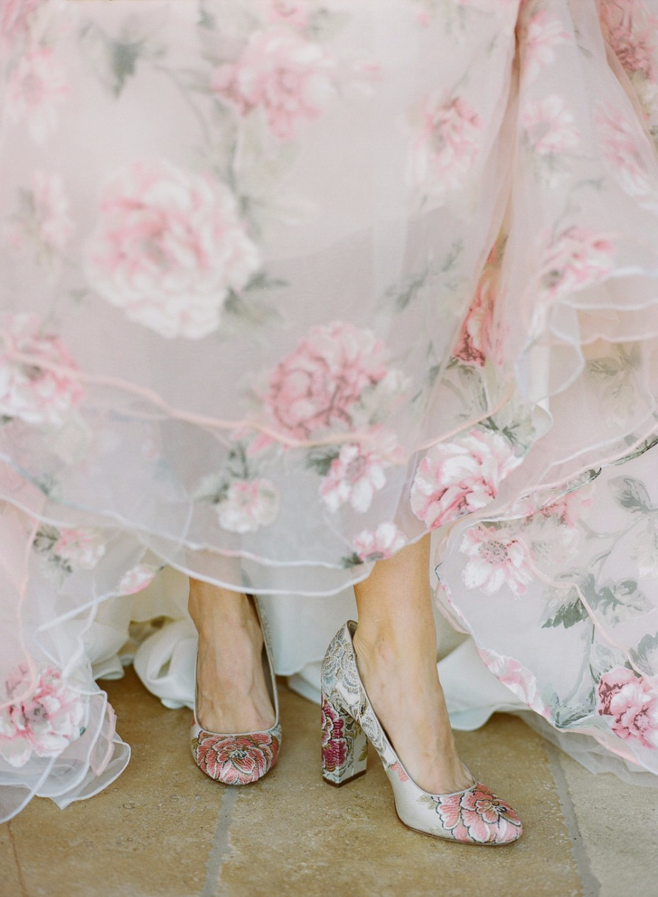 floral shoes for your floral wedding dress