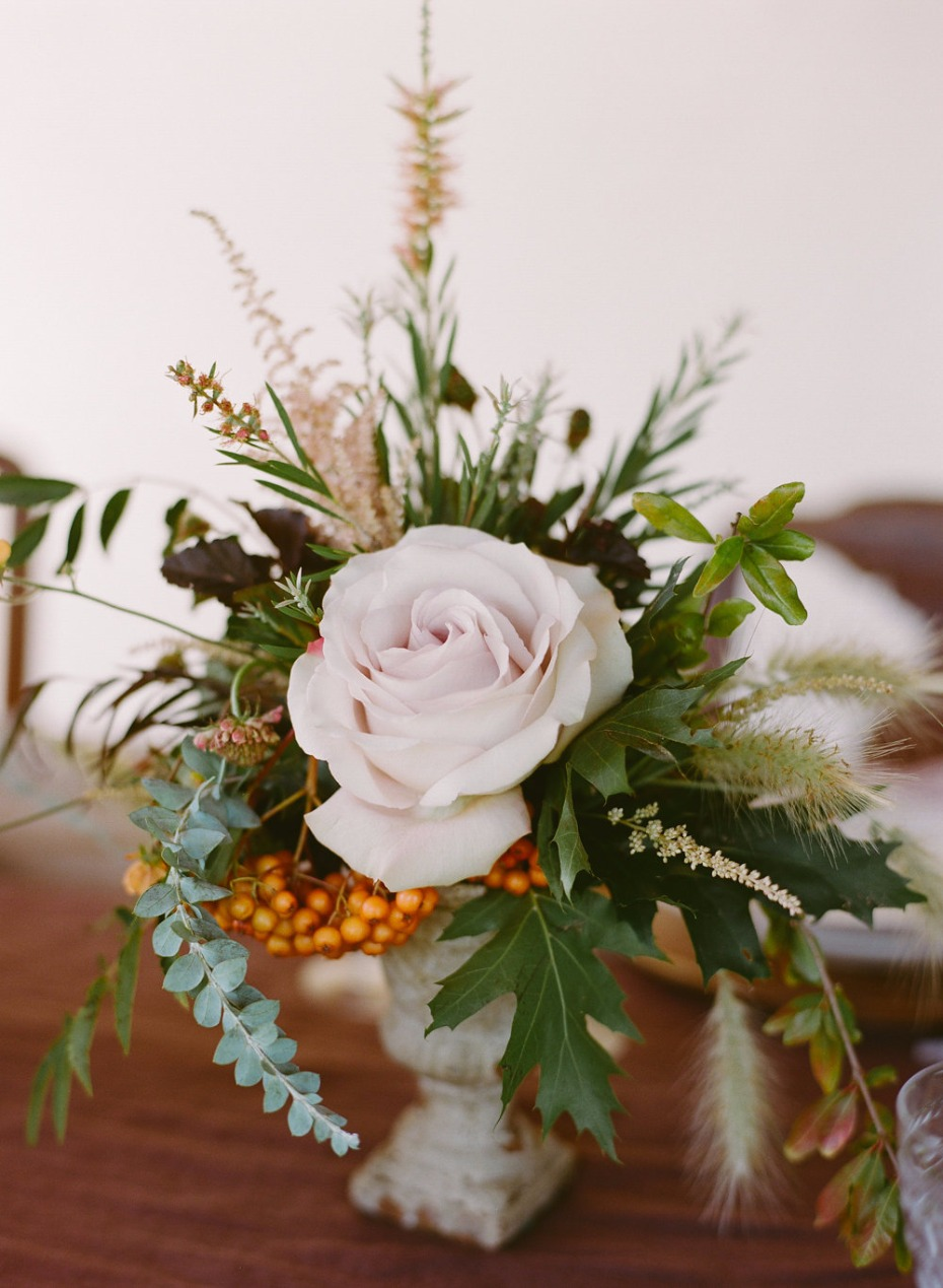 blush rose and fall colors small flower arrangement for your Fall wedding