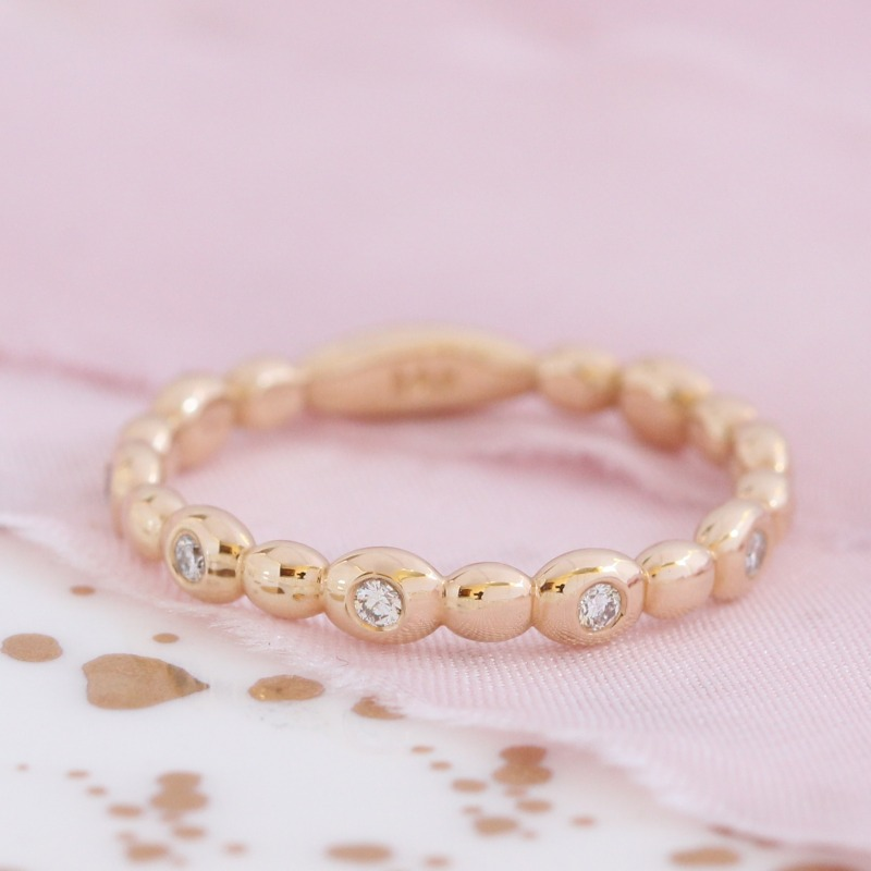 Half Eternity Pebble Diamond Band in Yellow Gold by La More Design, handmade in NYC