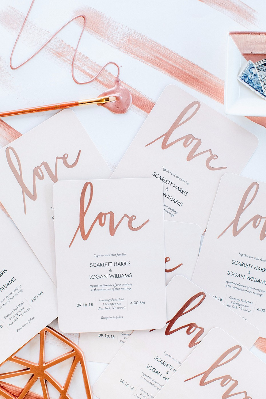 Rose gold wedding invites from Shutterfly