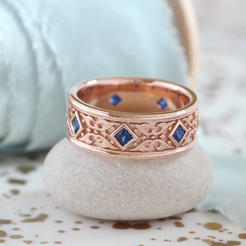 Princess Cut Sapphire Wedding Band in 14k Rose Gold 8mm Mens Celtic Ring by La More Design in NYC