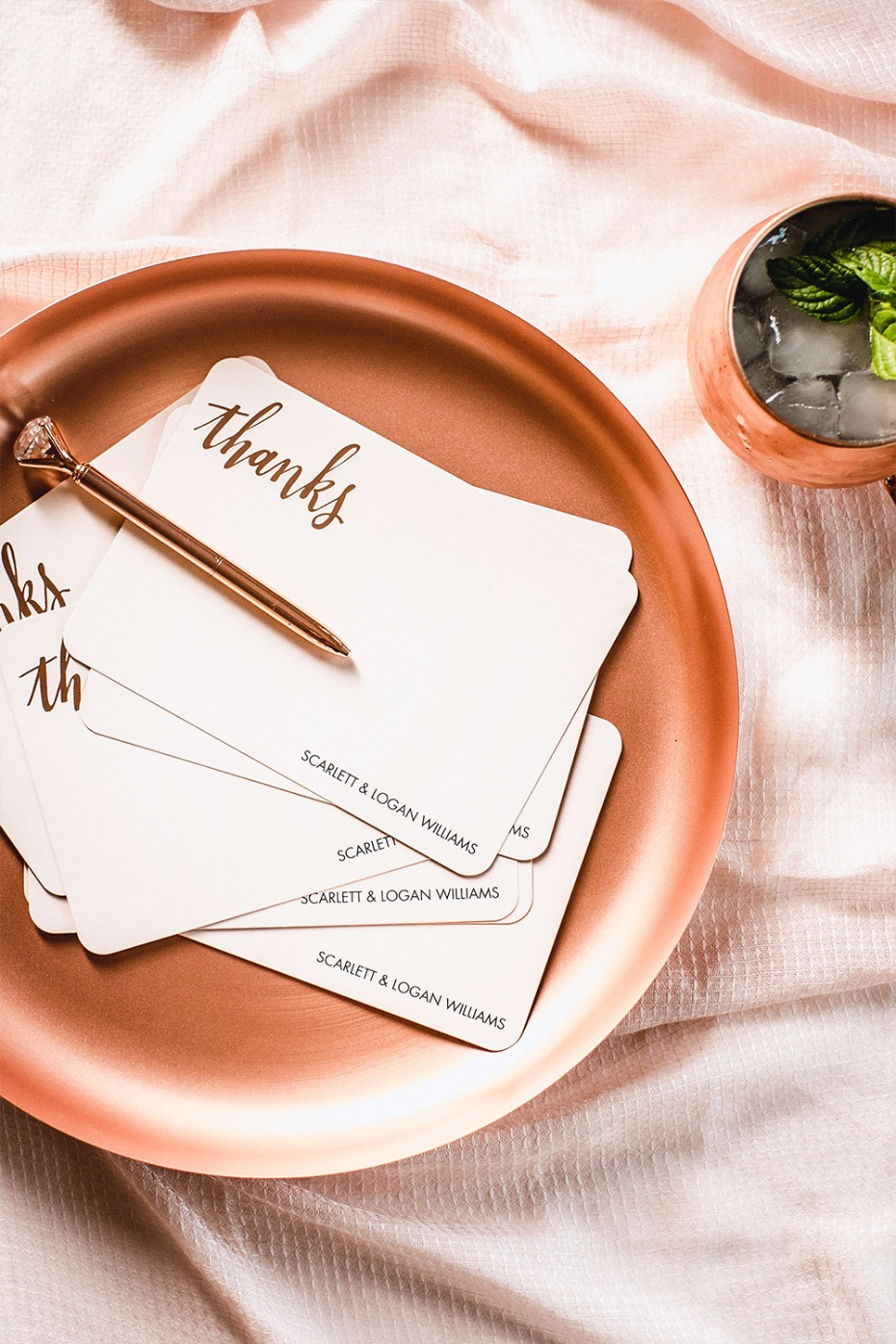 rose gold thank you cards