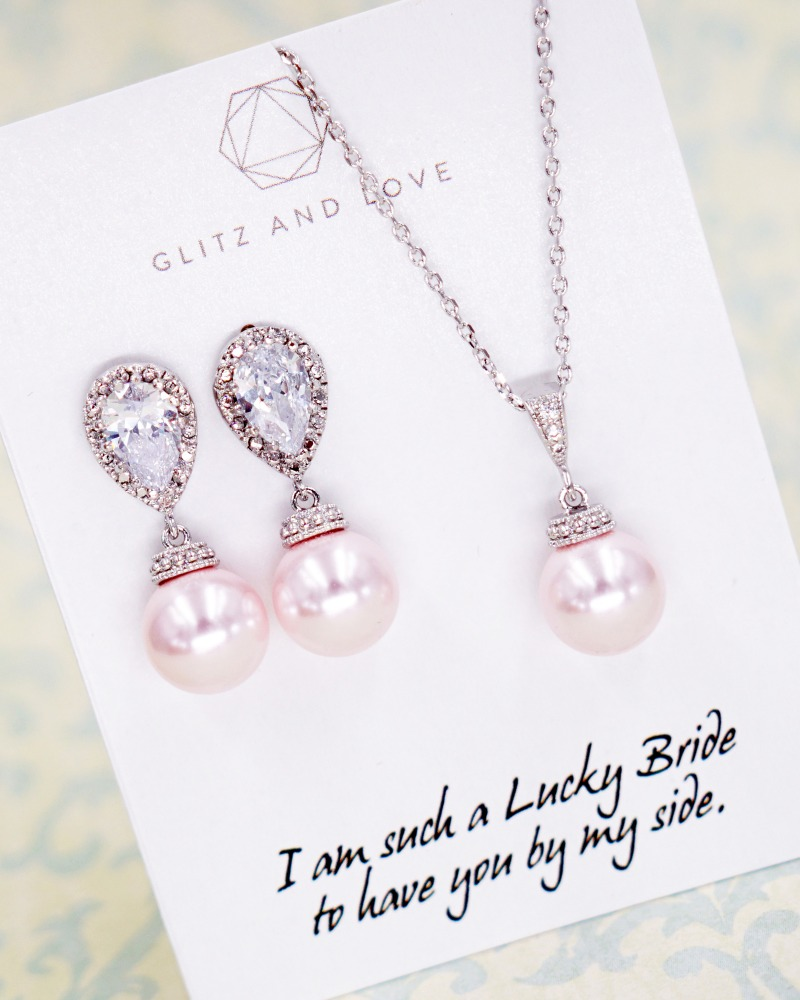 Pink Pearl Earrings and Necklace set, simple, brides, bridesmaid bridal shower gifts, wedding jewelry, www.glitzandlove.com