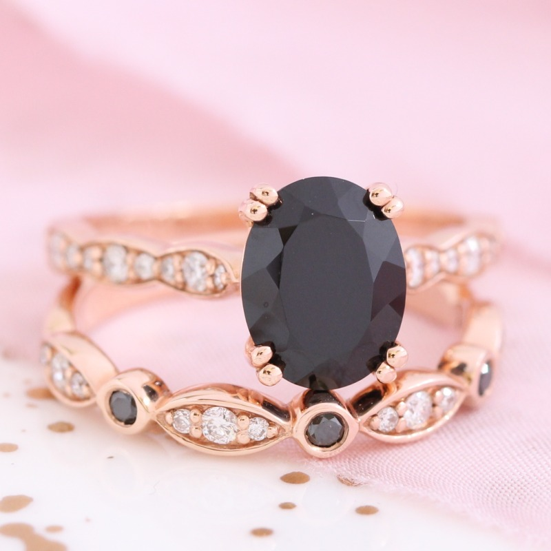 Oval Black Spinel Ring Bridal Set in Rose Gold Black and White Diamond Scalloped Band by La More Design in NYC