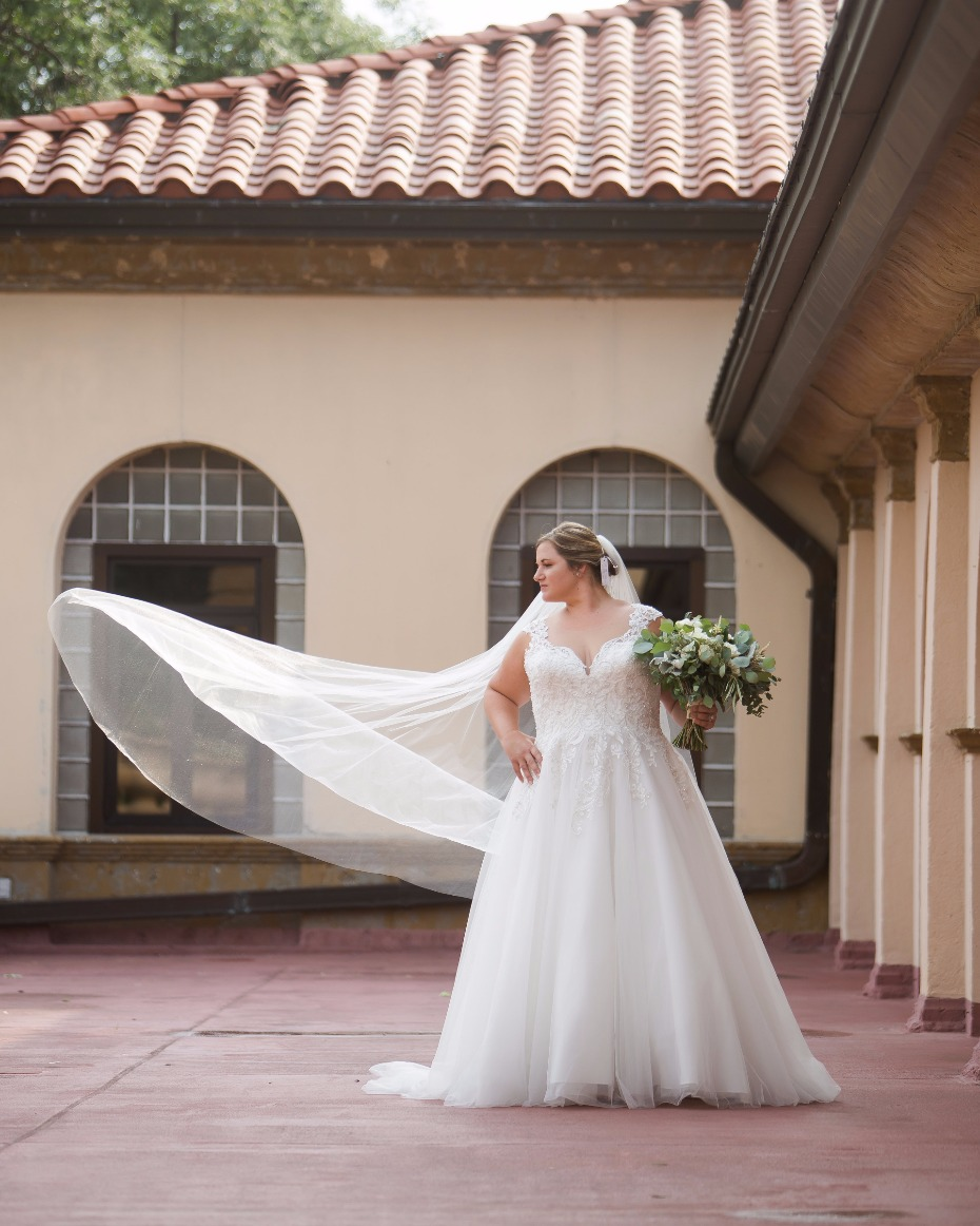 cathedral length veil blowing in the breeze