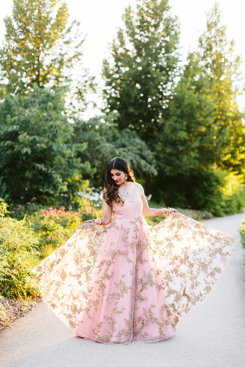 Shyamal & Bhumika reception gown in blush and gold