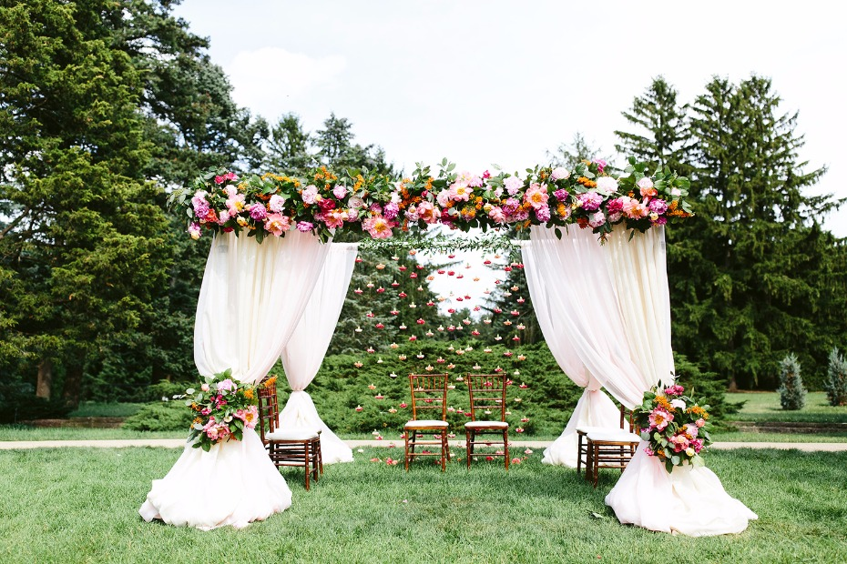 Traditional Mandap with hanging flower backdrop