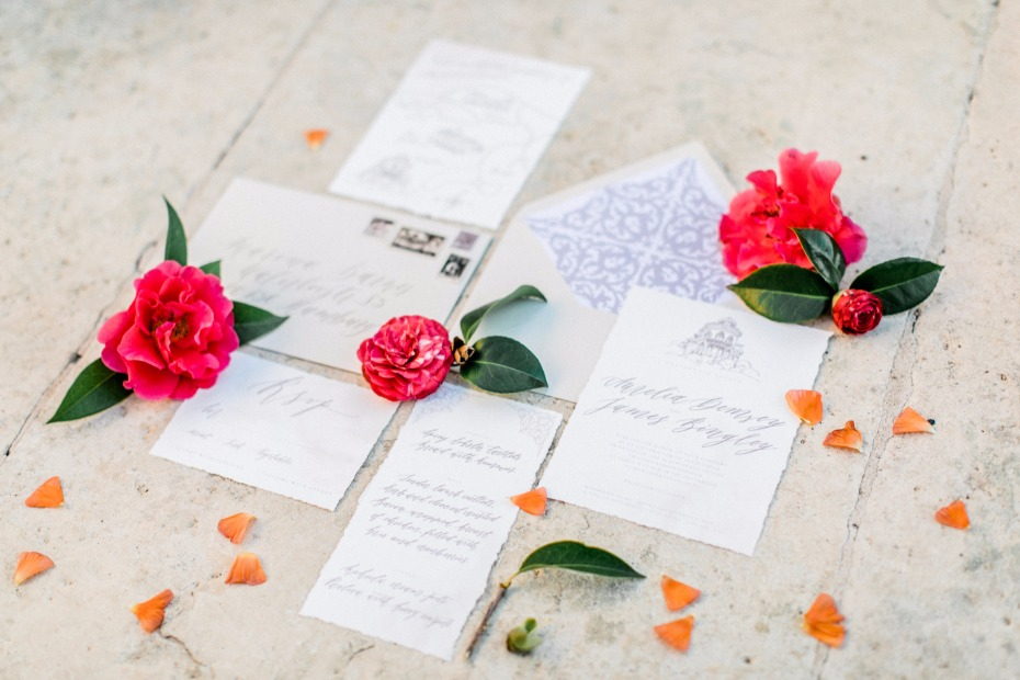 classic calligraphy wedding stationery