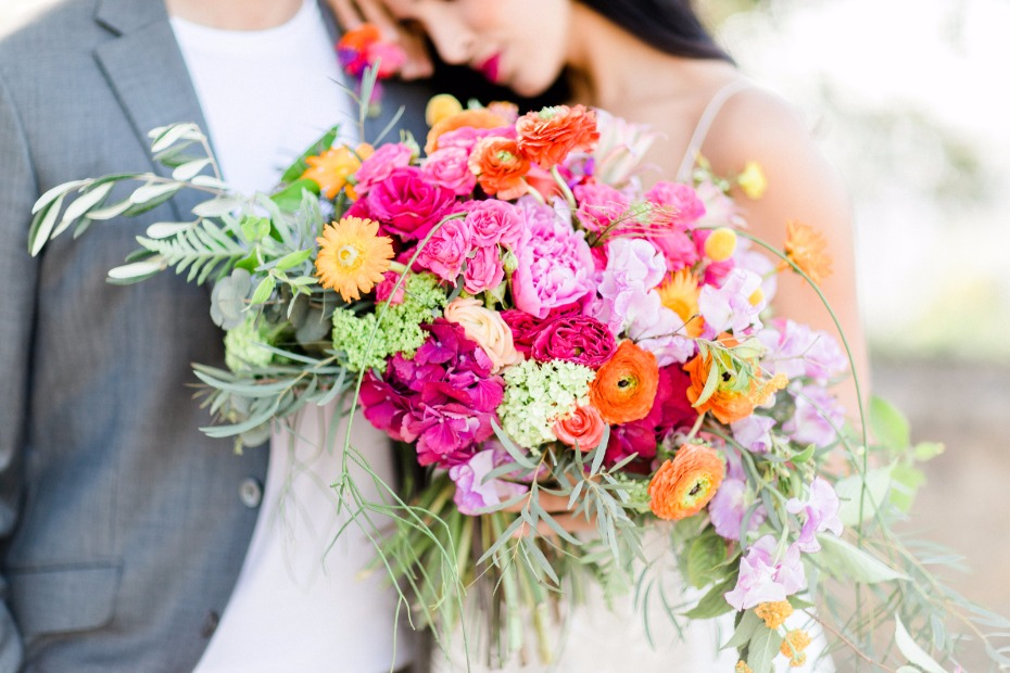 bright pink and orange wedding bouquet