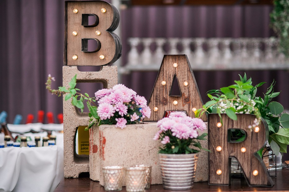 Wood marquee bar sign