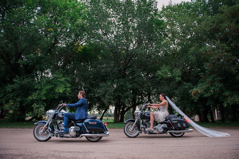 Motorcycle ride for the bride and groom