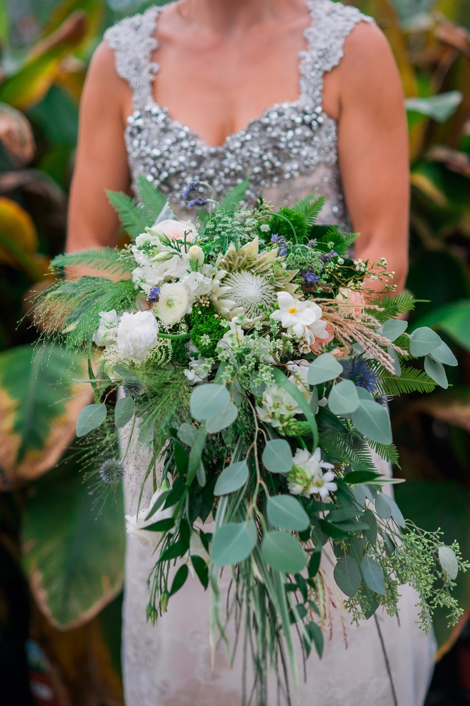 Green and white cascading bouquet