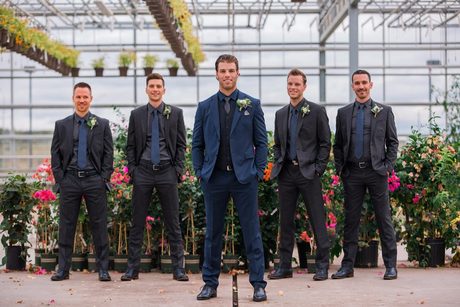 Coordinating groom and groomsmen outfits