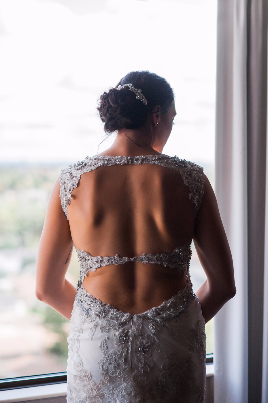 Gorgeous open back wedding dress from Maggie Sotterro