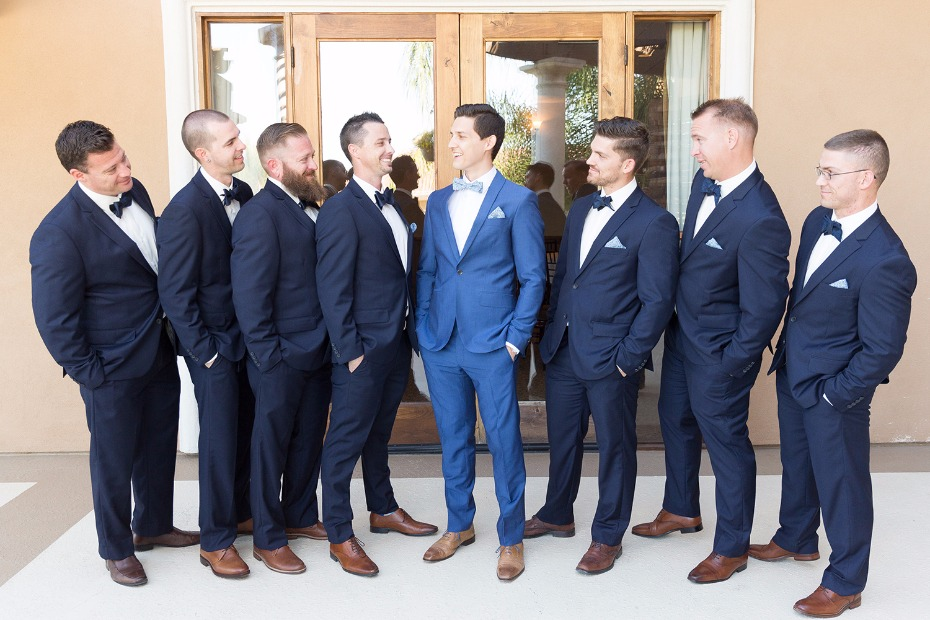 Groomsmen in blue and navy
