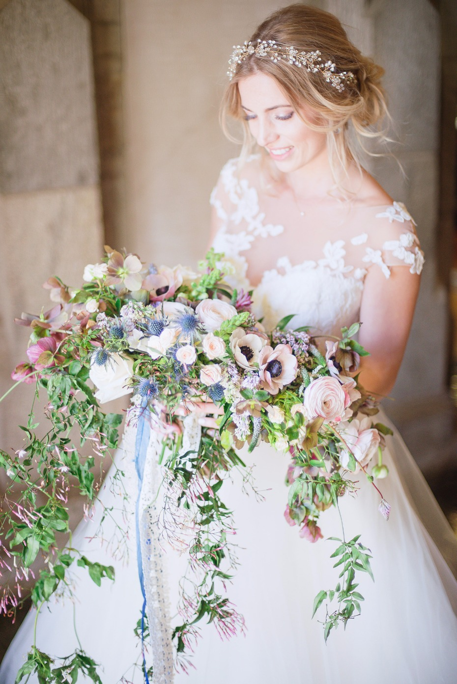 cascading bridal bouquet in pink white and blue