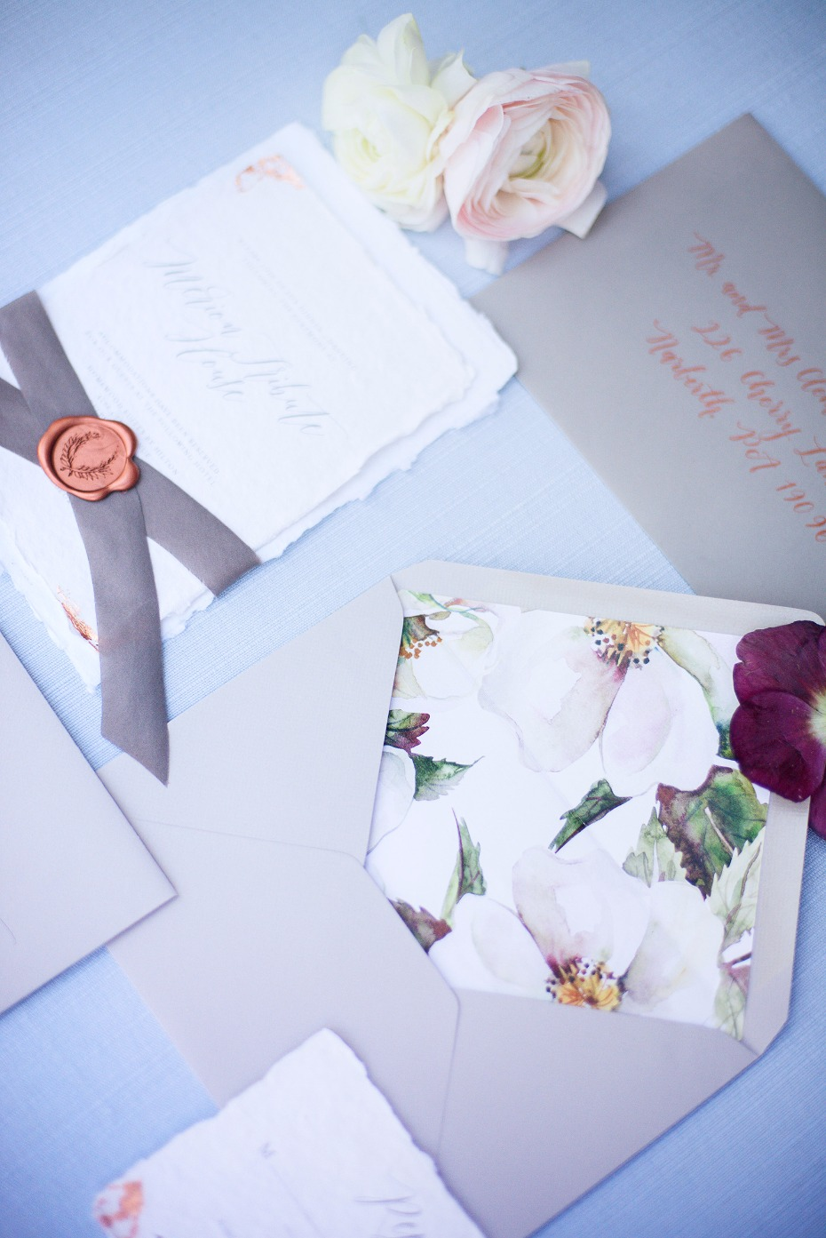 romantic floral and vintage style wedding stationery