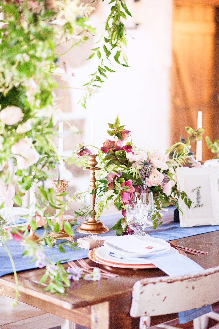 bright and cheerful wedding table decor