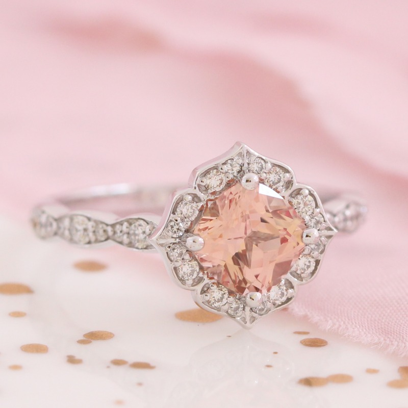 Champagne Peach Sapphire Ring in White Gold Diamond Scalloped Band Mini Vintage Floral Ring by La More Design in NYC