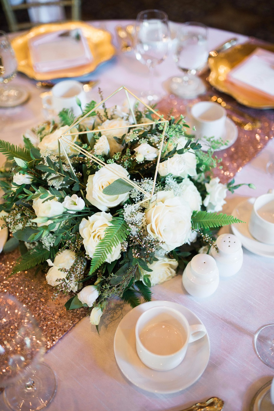 Geometric floral centerpiece idea