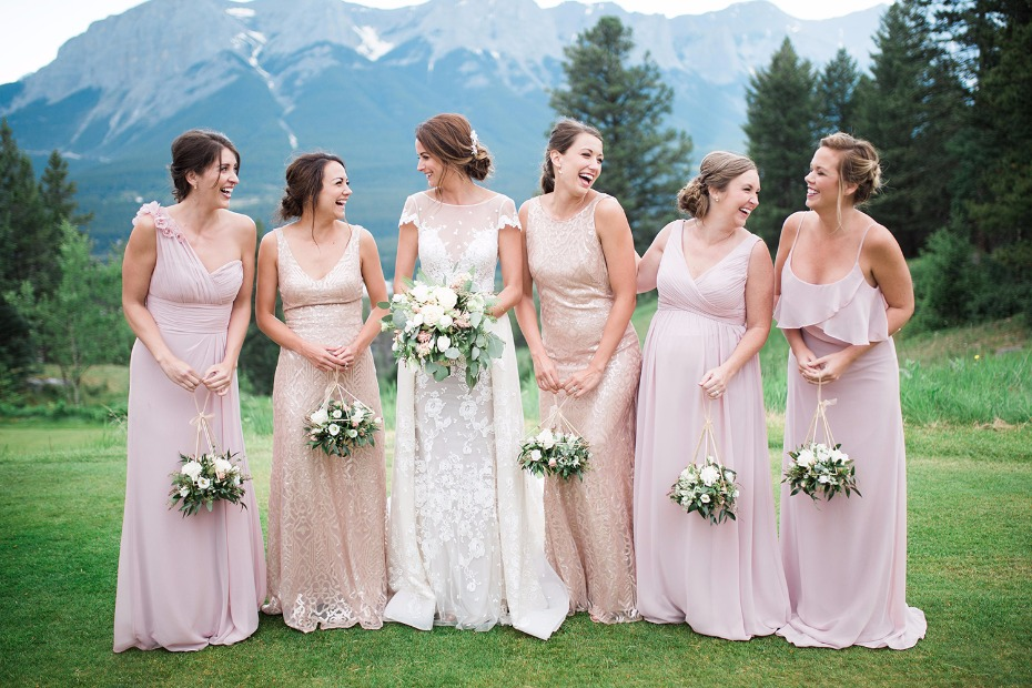 Bridesmaids in blush and gold