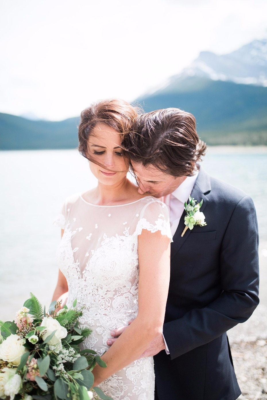It's a rainy day for a Canadian Rockies wedding