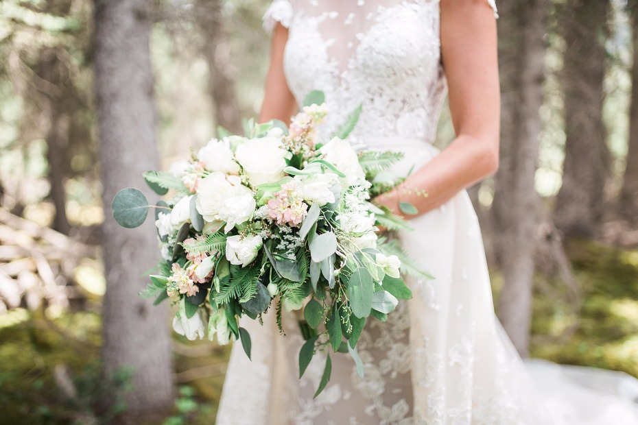 Green, white and blush bouquet