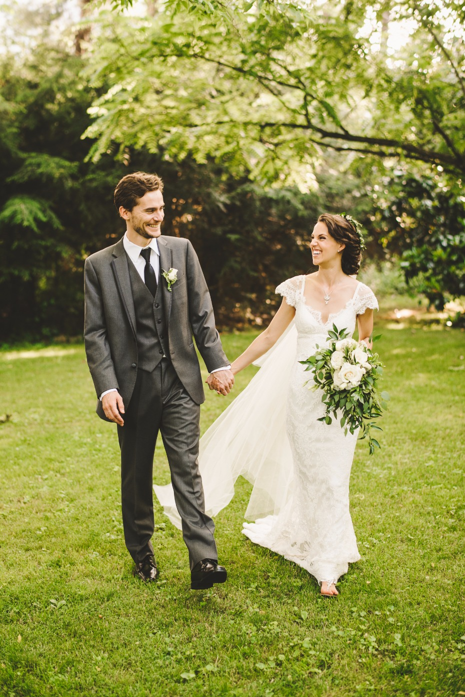 classic white and grey garden wedding